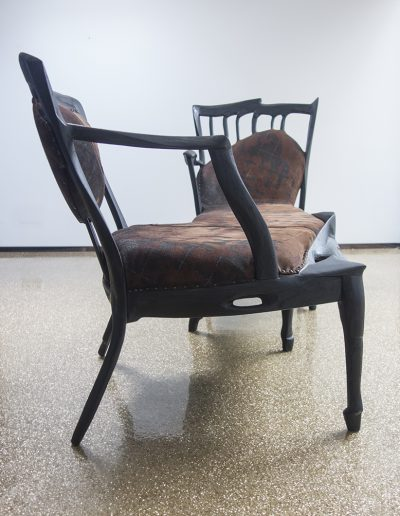 Conversation Chair. Oak, printed leather, 193x75x75 cm